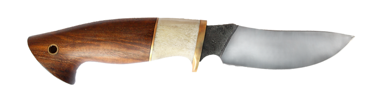 handgeschmiedetes Jagdmesser mit Horneinlage und Lederscheide