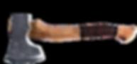 handgeschmiedetes Beil mit Siel aus Ulme und Lederscheide