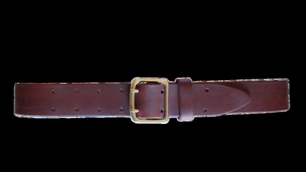 Ledergürtel mit Doppeldornschnalle / walnussbraun