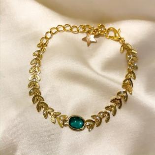 Bracelet épi vert - plaqué or 24 carats - 27€