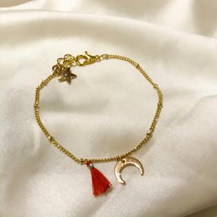 Bracelet lune rouge - plaqué or 24 carats - 25,90€