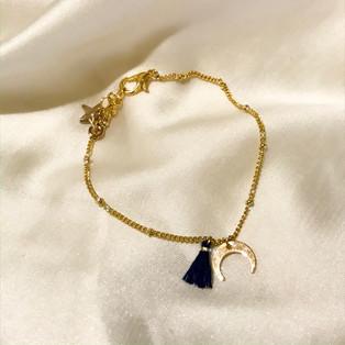 Bracelet lune bleu - plaqué or 24 carats - 25,90€