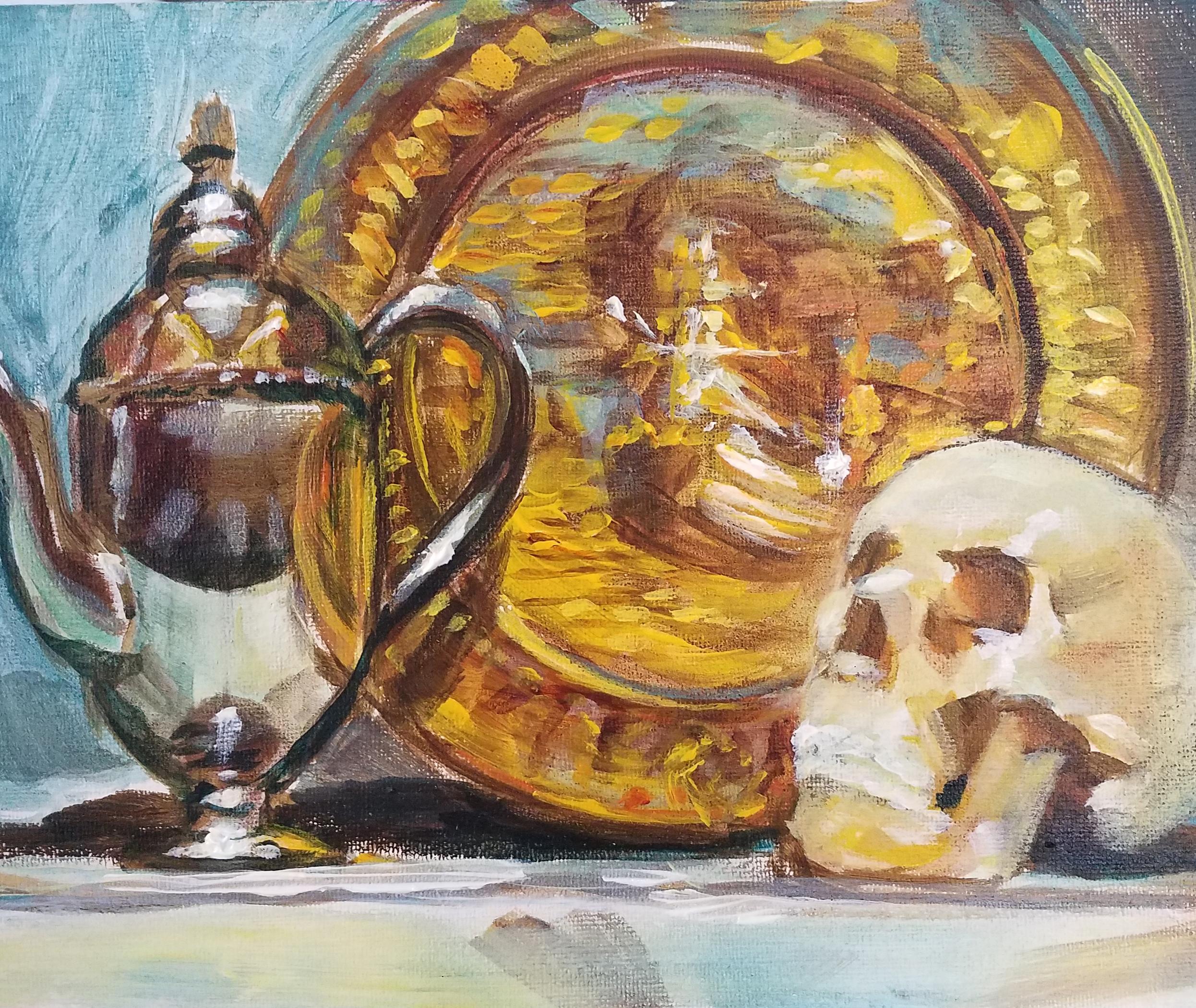 teapot and skull