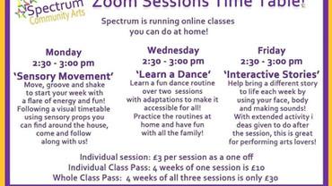 Spectrum Community Arts have extended their Zoom sessions
