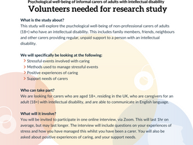 Call for carers to volunteer in a research study