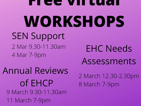 Free virtual workshops from Central Bedfordshire SENDIASS