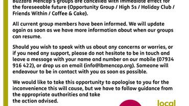 Temporary closure of Leighton Buzzard Mencap groups