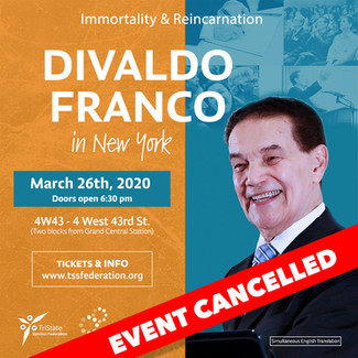 Divaldo Franco In New York - EVENT CANCELLED!