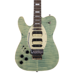Left-Handed Flame Maple, Grass-Stained Blue Jean ET Hybrid