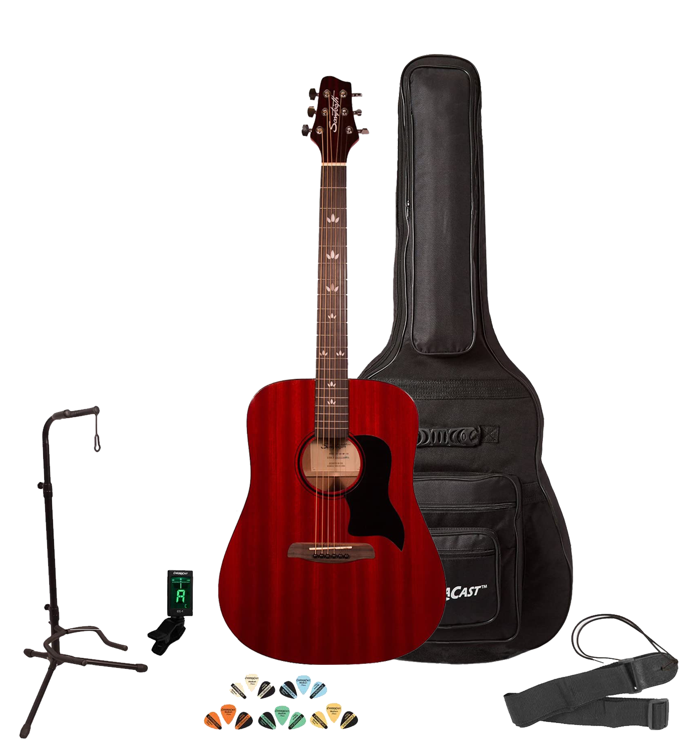 Sawtooth Modern Vintage Acoustic Guitar Players Pack, With Tuner, Picks, Stand & Strap, Cherry Mahog
