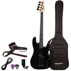 Sawtooth EP Series Right Handed Black Satin w Black Pickguard Electric Bass w Gig Bag & Accessories