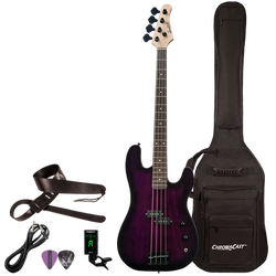 Sawtooth EP Series Right Handed Trans Purple Electric Bass w Padded Gig Bag & Accessories