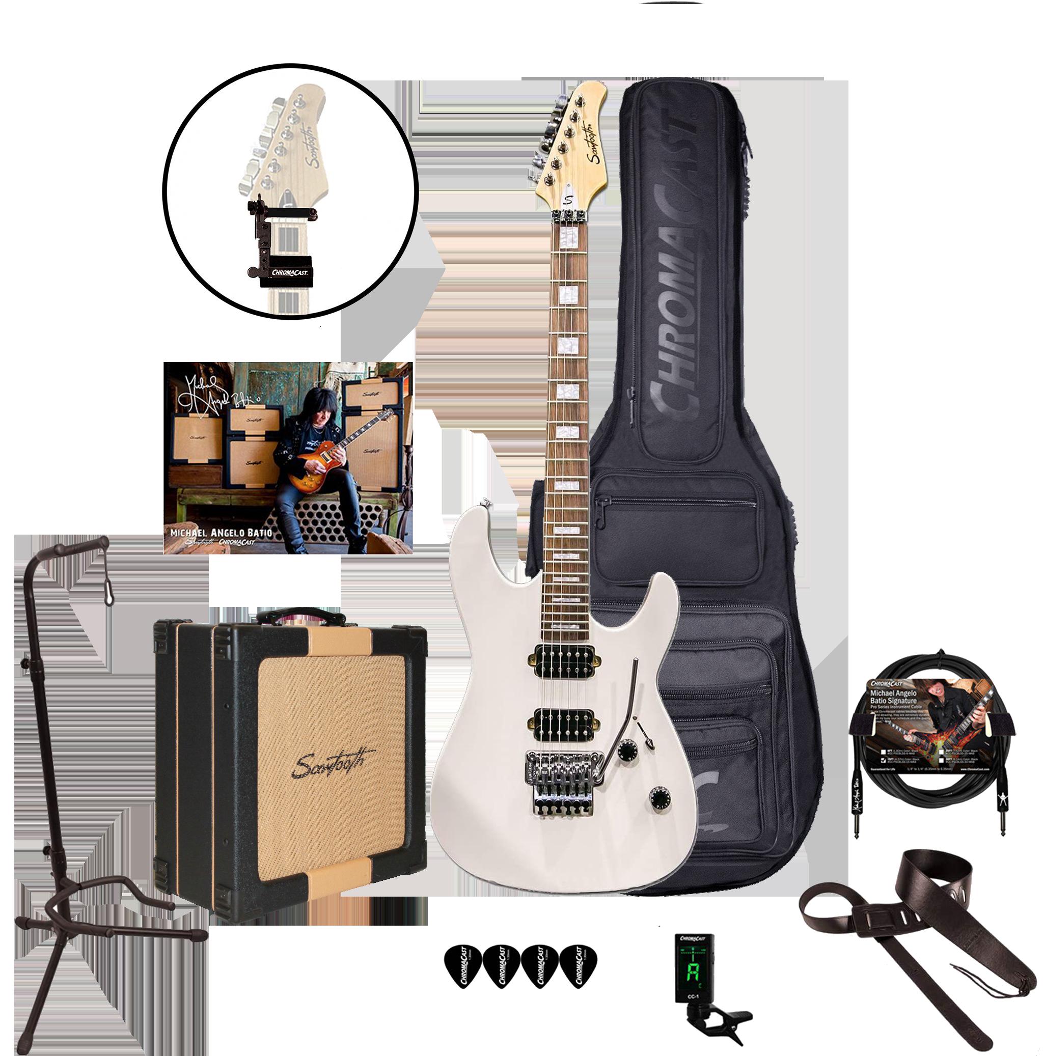 Sawtooth ST-M24 Satin White Floyd Rose, MAB Signature 24 Fret Electric Guitar Pack