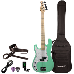 Sawtooth EP Series Left Handed Surf Green w/ Pearloid Pickguard Electric Bass w Padded Gig Bag & Acc