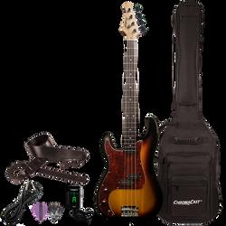 Sawtooth EP Left Handed Electric Bass Vintage Burst w Tortoise Pickguard w Gig Bag & Accessories