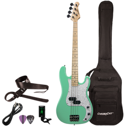 Sawtooth EP Series Right Handed Surf Green w/ Pearloid Pickguard Electric Bass w Padded Gig Bag & Ac