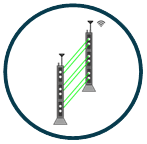 Poles fitted with lasers and infrared-based sensors to detect any intrusion between them - TAx T Temporary