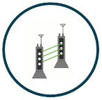 Poles fitted with lasers and infrared-based sensors to detect any intrusion between them - TAx C Compact