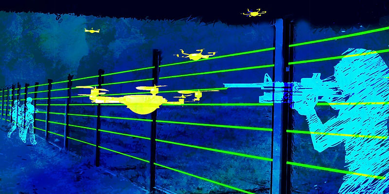 Poles fitted with lasers and infrared-based sensors to detect any intrusion between them.