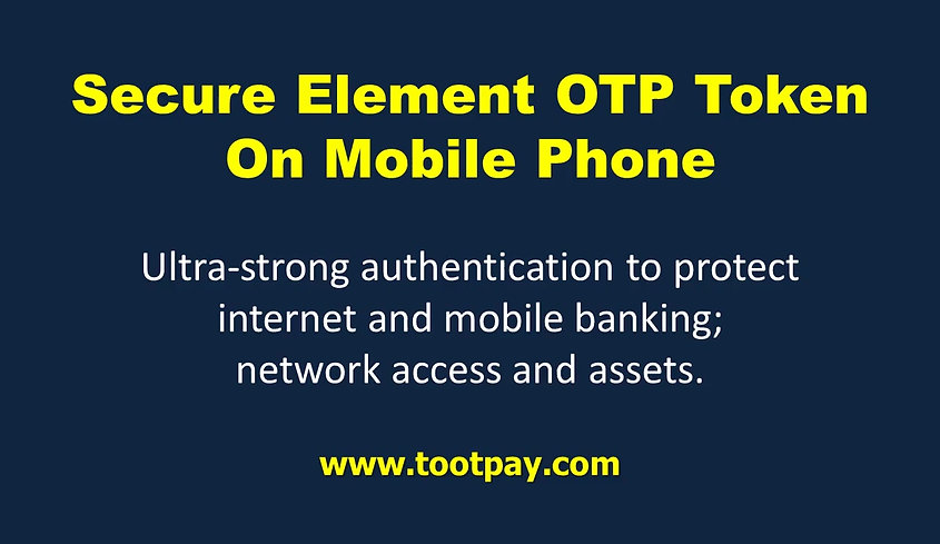 2FA Mobile hardware token. OTP Token For Online Banking.  Secure Element Mobile Token ​.  Security of hardware token + convenience of app (software) token. Mobile Banking and Payment. All Mobile Platform Covered.