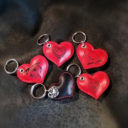 Porte clé Coeur en cuir