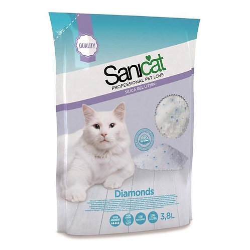 Sanicat Professional Diamonds Non-Clumping Cat Litter 3.8 Litre Pack Of 4