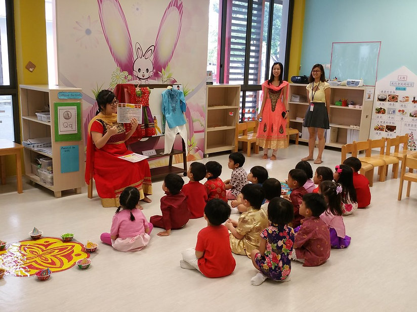 Singapore Hokkien Huay Kuan Preschool students learning about Vesak Day celebration.