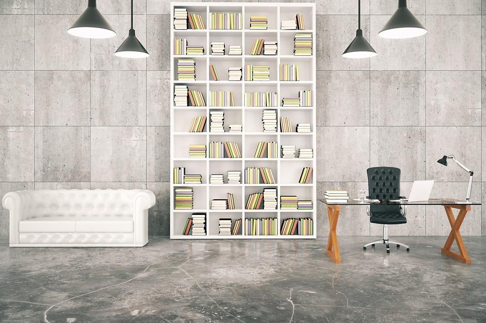workplace with bookshelf