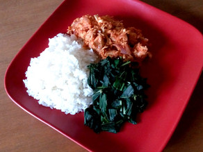 WHITE RICE, CHICKEN BREAST STEW, AND STEAMED SPINACH