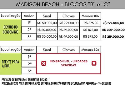 Tabela Valores Madison Beach - BLOCO _B_