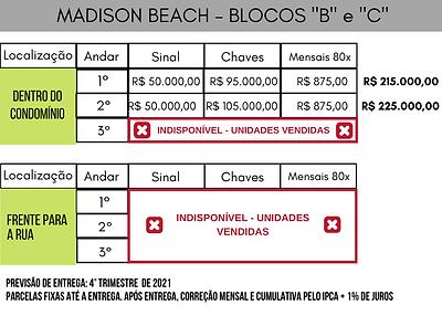 Tabela Valores Madison Beach - BLOCO B e