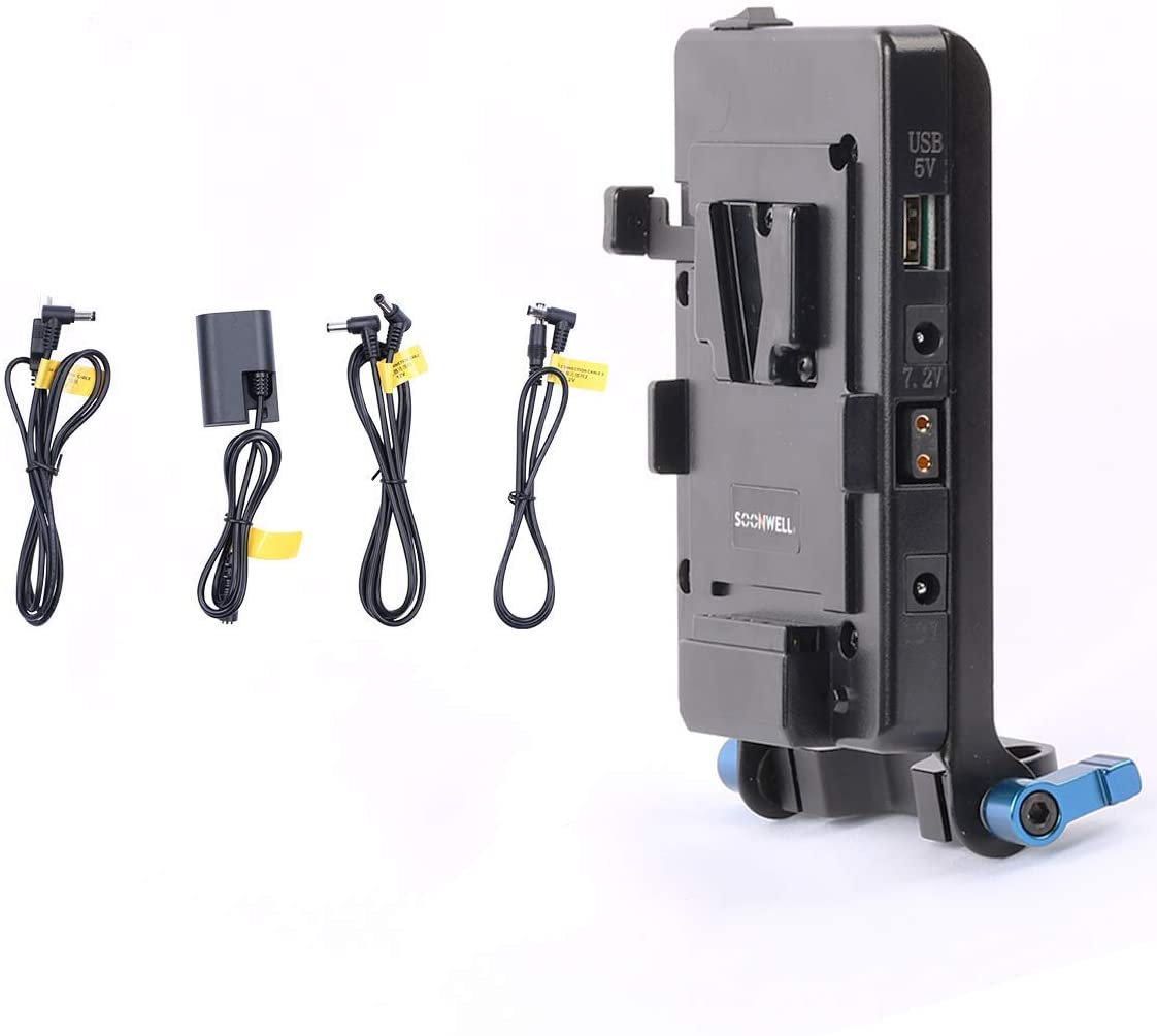 SOONWELL Dual Channel BP Li-ion Battery Pack Charger V Lock Mounting Power Supply with DC Output Camcorder Battery Charging
