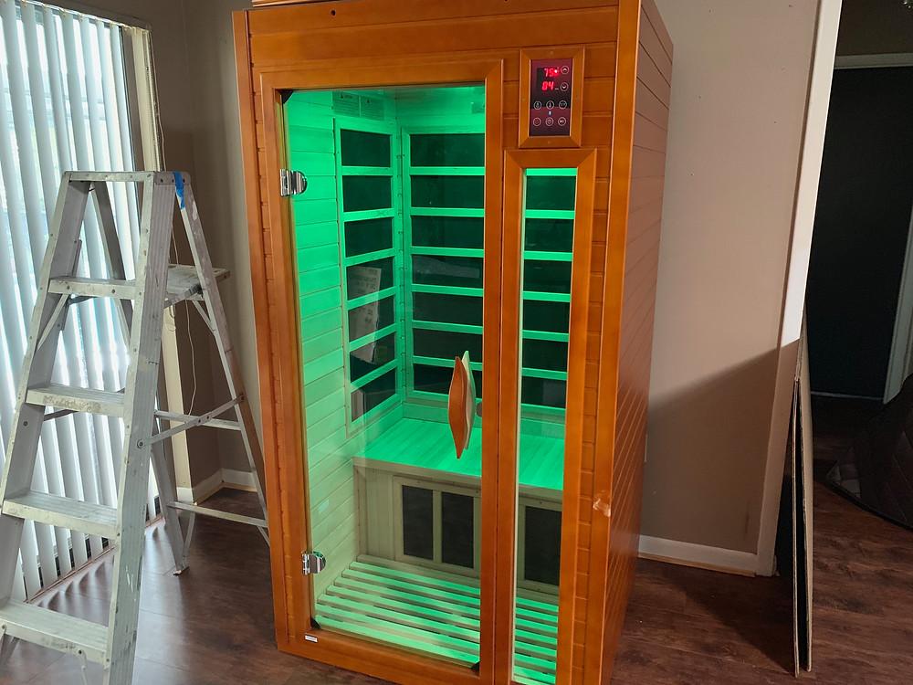 DYNAMIC SAUNAS AMZ-DYN-6106-01 Barcelona 1-2 Person Far Infrared Sauna - final assembly