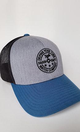 Seaplane Circle Logo Blk/Grey/Blue - Mesh Snapback