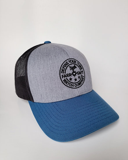 Seaplane Circle Logo Blk/Grey/Blue - Mesh Snapback