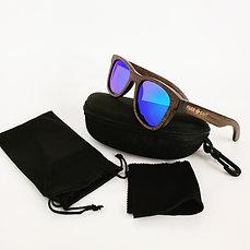 """""""Nahele Classic"""" Wooden Sunglasses - Blue Lens"""