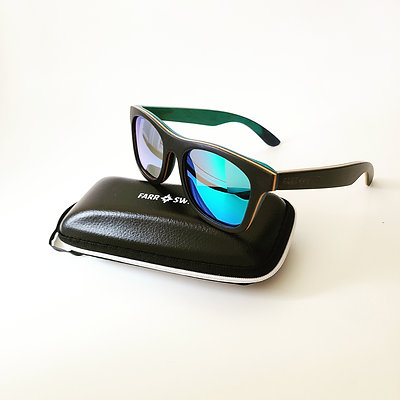 """Sunset Chillers"" Wooden Sunglasses - Green Lens"