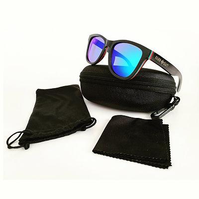 """Lele Kai"" Wooden Sunglasses - Blue Lens"