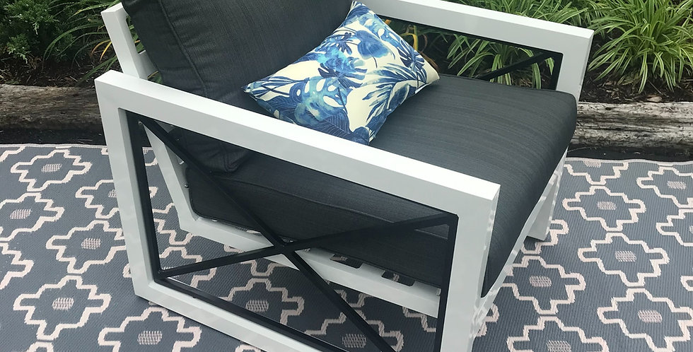 Mordern metal chair with grey cushions