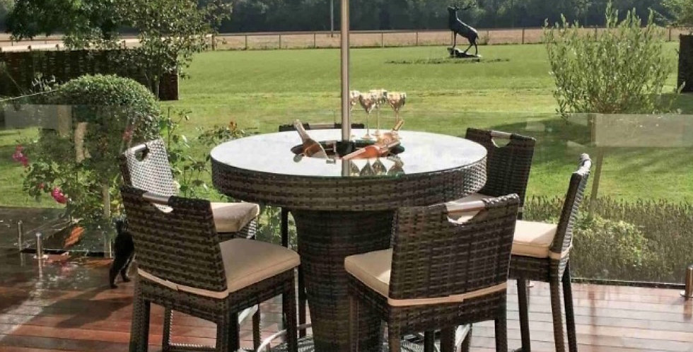 All-weather wicker bar table & chairs