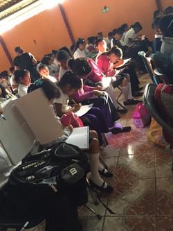 Taking notes at Chapel