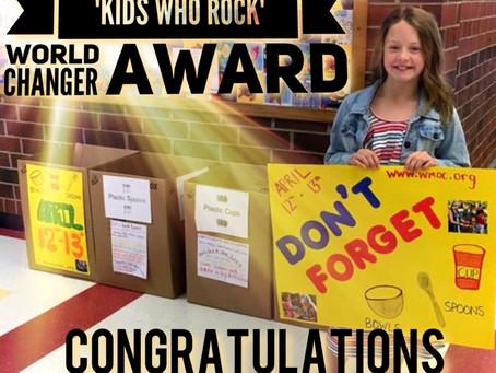 WMO Volunteer Wins 'Kids Who Rock' World Changer Award