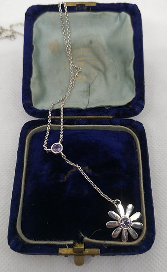 Sterling Silver and Amethyst Daisy Necklace