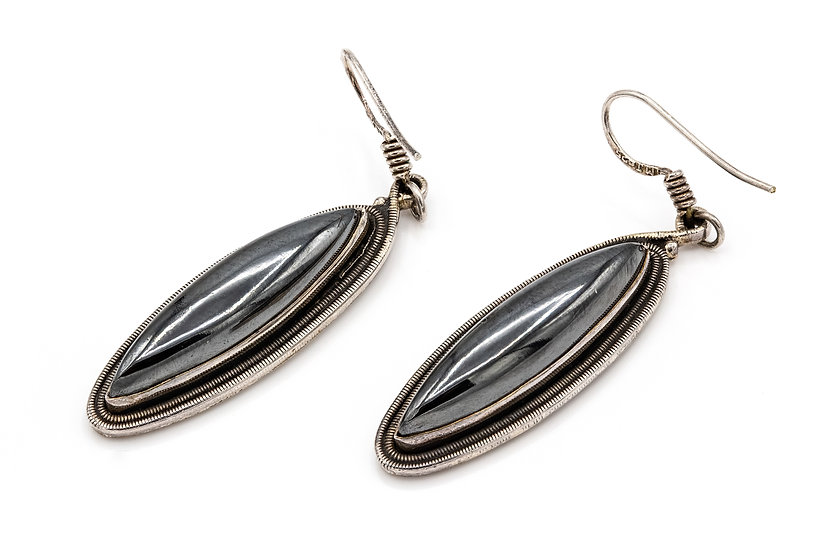 Silver and Hematite Drop Earrings