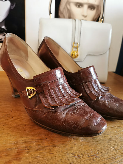 Vintage Gucci Leather Heels with Fringing