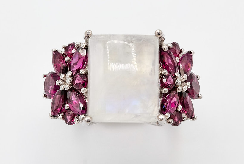 Stunning Large Silver Moonstone and Garnet Cocktail Ring