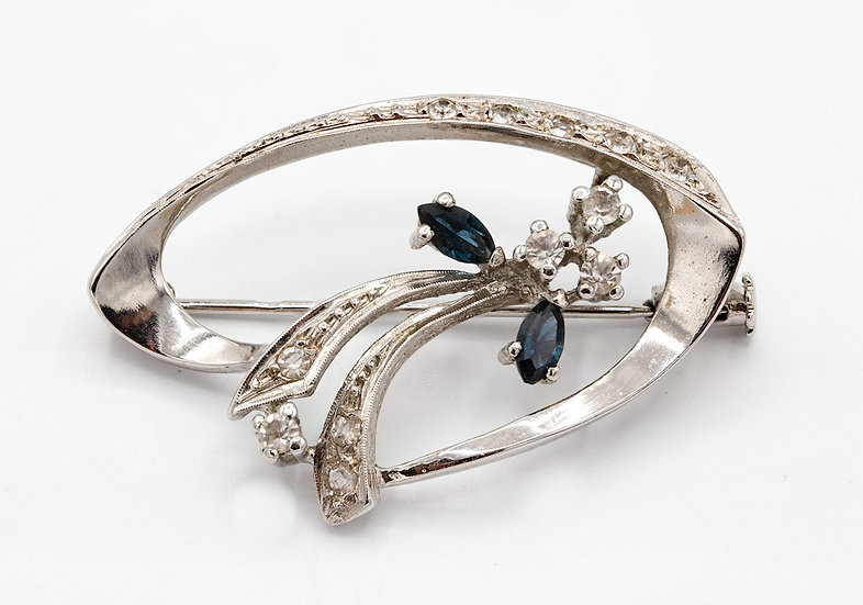Sterling Silver and Cubic Zirconia Brooch