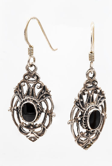 Ornate Silver and Onyx Drop Earrings