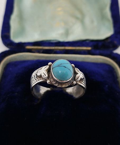 Decorative Silver and Turquoise Ring