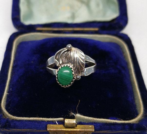 Navajo Silver and Malachite Ring